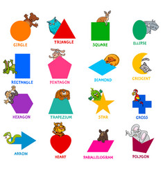 Geometric shapes with animal characters set vector