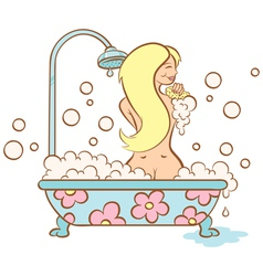 Girl and bubble bath vector