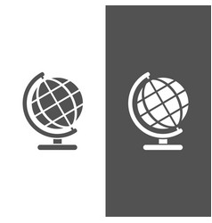 Globe icon on black and white background vector