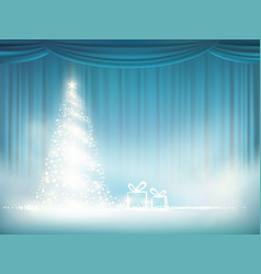 Glowing christmas tree on a blue curtain vector