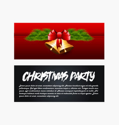 golden bells christmas banner background vector image