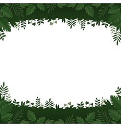 Green leaves and plants frame on white background vector image