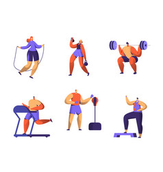 Gym fitness character set sport cardio workout vector