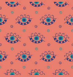 Hand drawn boho eyes doodles pattern vector
