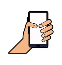 hand holding smartphone icon image vector image