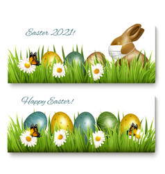 happy easter banners coronavirus protection vector image