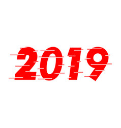 happy new year 2019 red text design vector image