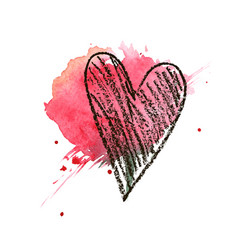 heart hand drawn valentines day vector image