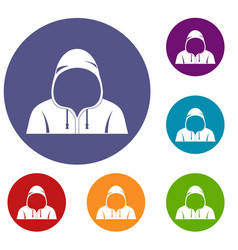 hood icons set vector image