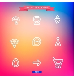 Icons Set trend outline symbol web vector image