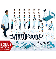 isometry doctor african american create 3d surgeon vector image