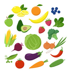 large set of fruits vegetables and berries in vector image
