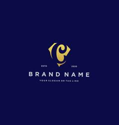 Letter c diamond gold logo design vector