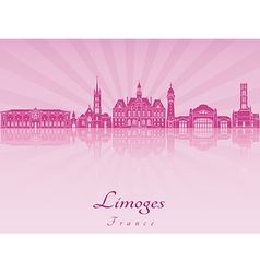 limoges skyline in purple radiant orchid vector image