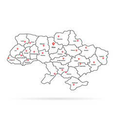 Linear ukraine map pin with regional centers vector