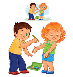Little boy paints a paint on a little girl vector