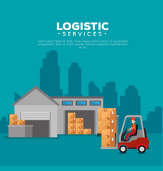 logistic services with forklift and worker vector image