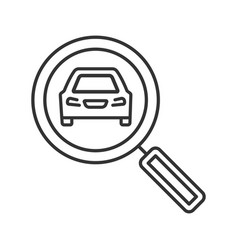Magnifying glass with car linear icon vector