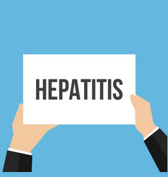 Man showing paper hepatitis text vector