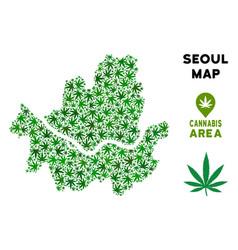 Marijuana mosaic seoul city map vector