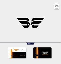 Minimal initial b wings creative logo template vector