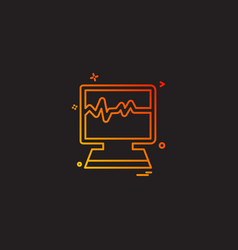 monitor lcd heart reading icon design vector image