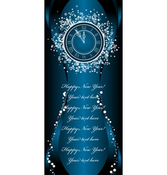 New year wish card with clock vector