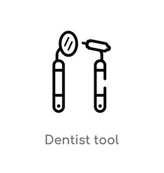 outline dentist tool icon isolated black simple vector image
