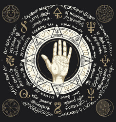 palmistry map on open palm with old magic symbols vector image