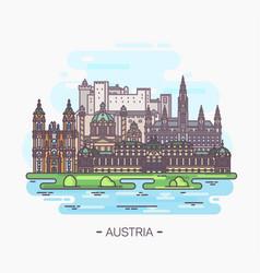 panorama of austria landmarks of vienna salzburg vector image