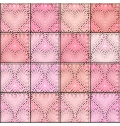 Patchwork with embroidery of hearts vector image