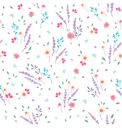 pink purple roses daisies ditsy seamless pattern vector image