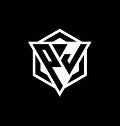Pj logo monogram with triangle and hexagon shape vector
