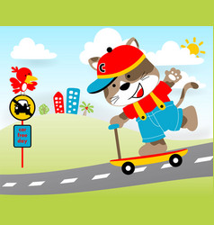 Playing scooter in the road with little animals vector