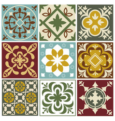 Portuguese tiling patterns old vector