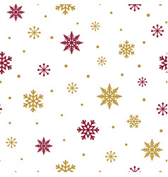 red gold snowflakes on white background christmas vector image
