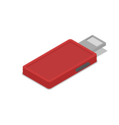 Red usb drive isometric 3d icon vector