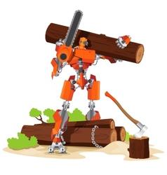 Robot Woodcutter Character vector