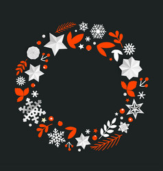 round decorative frame with christmas elements vector image
