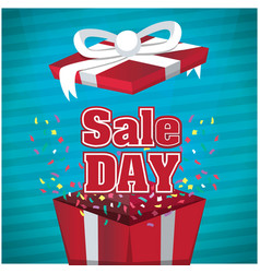 sale day gift box blue background image vector image