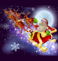 santa claus sleigh christmas scene vector image