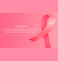 satin pink ribbon banner national breast cancer vector image