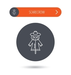 Scarecrow icon Human with pumpkin head sign vector image