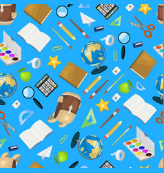 school items seamless pattern background vector image