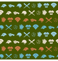 seamless background with baseball icons vector image