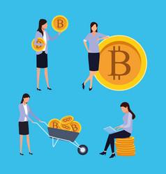 Set of digital mining bitcoin woman vector