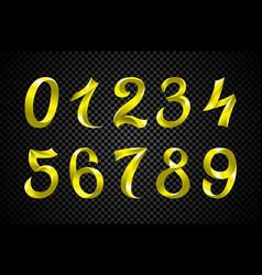 Set of festive yellow ribbon digits iridescent vector
