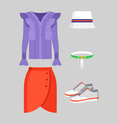 set of stylish clothing for warm weather poster vector image