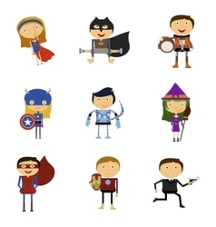 Set of Super Heroes Man and Woman vector
