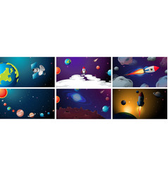 Set planet and ship scenes vector